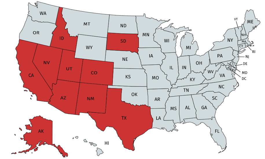 Map of U.S. with states represented by training partners highlighted in red.